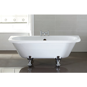 Wickes Nera D-Shaped Roll Top Bath White 1700mm