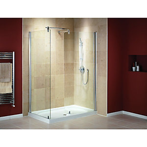 Wickes Walk-In Shower Enclosure Curved Panel with Silver Effect Frame Box 1 of 2 1400x900mm