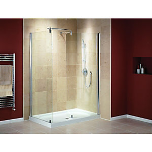 Wickes Walk-In Shower Enclosure Side Panel with Silver Effect Frame Box 2 of 2 1400x900mm
