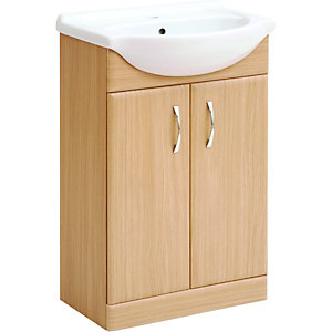Wickes Vanity Unit Light Oak Effect 525mm