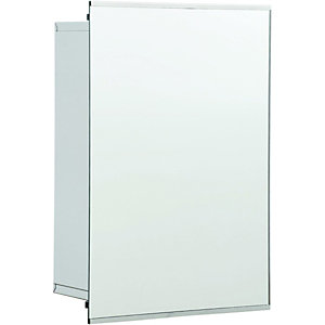 Wickes Bathroom Sliding Mirror Cabinet Stainless Steel 340mm