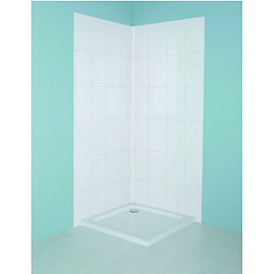 Wickes Tile Panel Kit White 820x1900mm