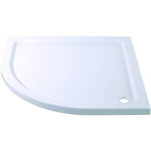 Wickes Quadrant Slimline Cast Stone Shower Tray White 900mm