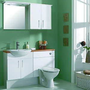 Wickes Seville Basin Unit & Semi Recessed Basin White 600mm