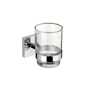 Croydex Chester Flexi Fix Tumbler & Holder Chrome