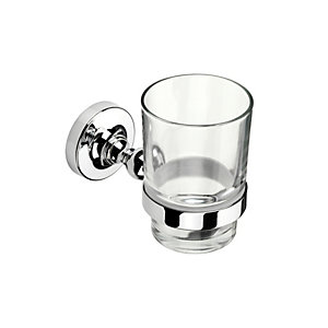 Croydex Worcester Flexi Fix Tumbler & Holder Chrome