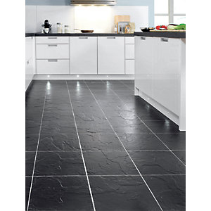 Wickes Vesuvio Black Matt Ceramic Floor Tile 320x320mm