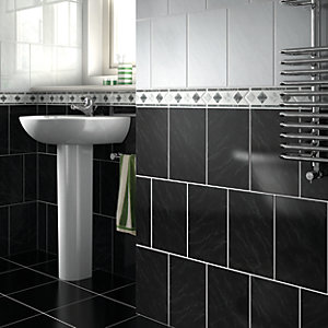 Wickes Caceres Grey Gloss Ceramic Border Tile 200x75mm