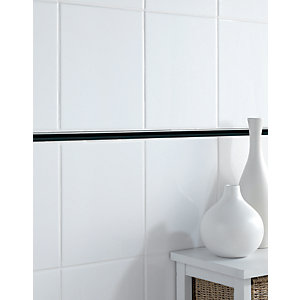 Wickes Stick Black Gloss Ceramic Border Tile 200 x 12mm