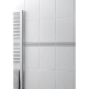 Wickes White Gloss Ceramic Wide Rail Border Tile 200 x 50mm