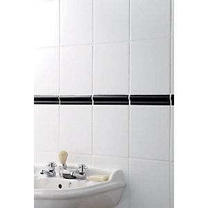 Wickes Black Gloss Ceramic Wide Rail Border Tile 200x50mm