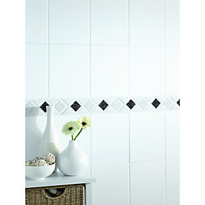Wickes Diamond Black & Gold Gloss Ceramic Border Tile 280x75mm