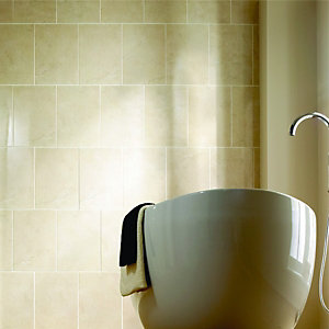 Wickes Marcello Cream Stone Effect Ceramic Wall Tile 316x450mm