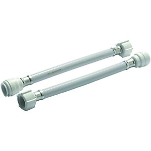 Wickes Hand Tighten Tap Connector 15 x 12 x 300mm Pack 2