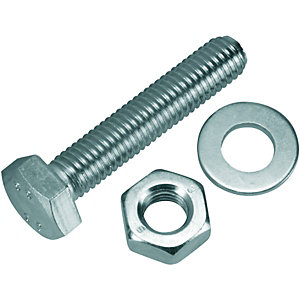 Wickes/Screws, Nails & Fixings/Nuts, Bolts & Washers/Wickes Hexagon Set Screws M10x50mm Pack 4
