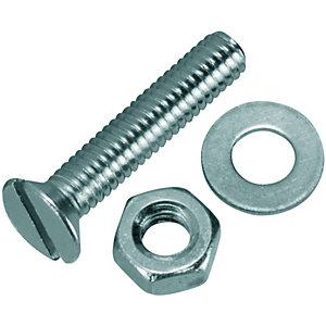 Wickes Machine Screws with Slot Head, Nut & Washer M4 x 20mm Pack 10