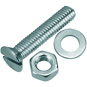 Wickes Machine Screws with Slot Head, Nut & Washer M5 x 25mm Pack 8
