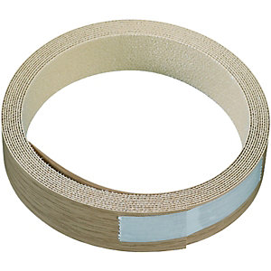 Wickes Iron On Edging Tape Oak Effect 19x2500mm