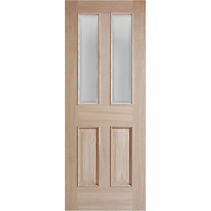 Wickes Denham Internal Oak Veneer Door Glazed 4 Panel 1981x686mm
