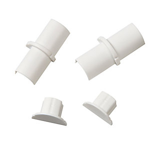 D-Line Micro Accessory Pack Including 2x Coupler & 2x End Cap White 16x8mm