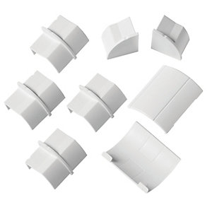 D-Line Clip-Over Accesory Pack Including 4x Coupler  2x Inlet/Outlet & 2x End Cap (1x Left  1x Right) White 22x22mm