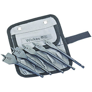 Wickes Flat Wood Bit Set 5 Piece