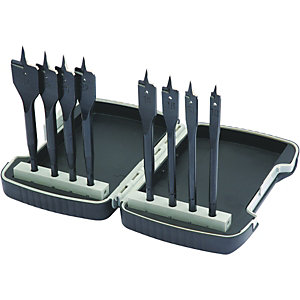 Wickes Wood Bit Flat 8 Pce in Plastic Case