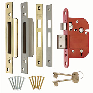 ERA British Standard CE 5L Fortress Sashlock 64mm Brass/Chrome