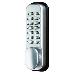 Wickes Digital Push Button Holdback Lock Satin