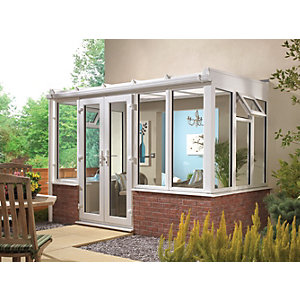 Wickes Traditional Conservatory T12 Dwarf Wall White 4630x3810mm