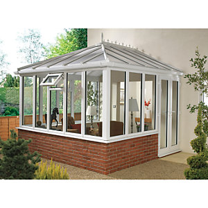 Wickes Edwardian Conservatory E13 Dwarf Wall White 4630x4560mm