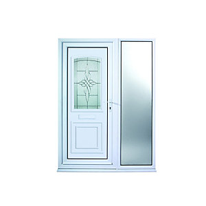 Wickes Medway 1 Sidelight uPVC Door 2085x1520mm Left Opening