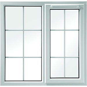 Wickes Georgian Bar uPVC Casement Window White 1010x1190mm RH Side Hung