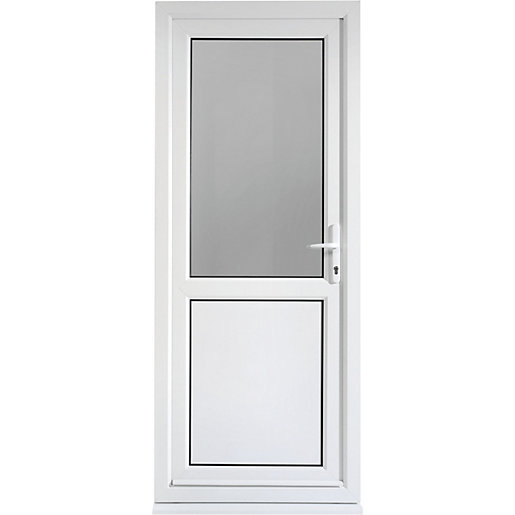 Wickes tamar pre hung upvc door 2085 x 840mm left hung for Exterior back doors for home