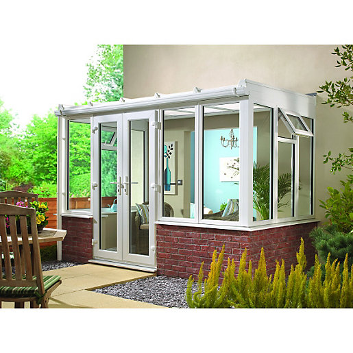 Wickes Traditional Conservatory T8 Dwarf Wall White 3880x3060mm