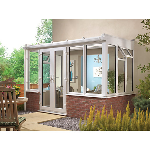 Wickes Traditional Conservatory T9 Dwarf Wall White 3880x3810mm