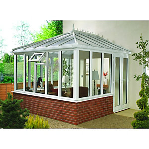 Wickes Edwardian Conservatory E4 Dwarf Wall White 3130x2460mm