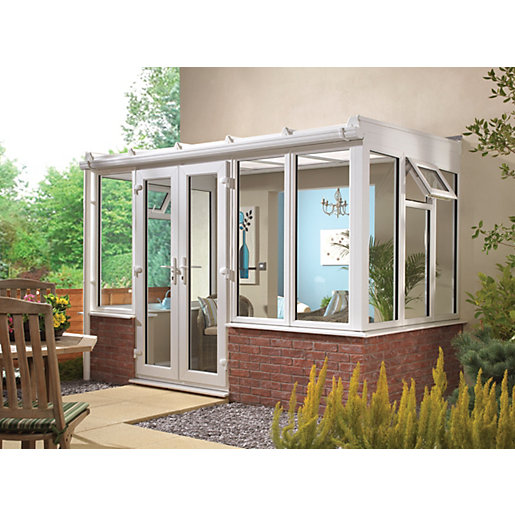 Wickes Traditional Conservatory T3 Dwarf Wall White 2530x2460mm