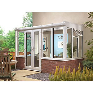 Wickes Traditional Conservatory T4 Dwarf Wall White 3130x1260mm