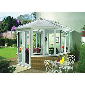 Wickes Victorian Conservatory V1 Dwarf Wall White 3034x2712mm
