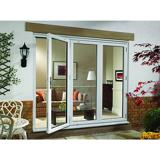Wickes upvc external folding sliding patio door white for 8ft french doors