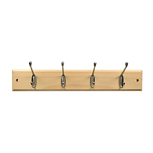 Wickes Light Duty Hook Rail Pine/Nickel 450mm