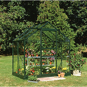 Halls Greenhouse Aluminium with Hort Glass Green 4x6