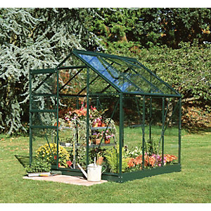 Halls Greenhouse Aluminium with Hort Glass Green 6x6