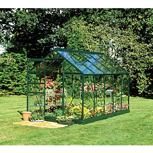 Halls Greenhouse Aluminium with Hort Glass Green 10x6