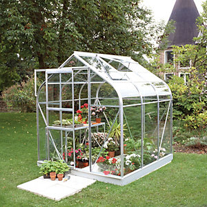 Halls Supreme Curved Greenhouse Aluminium with Base 6x6
