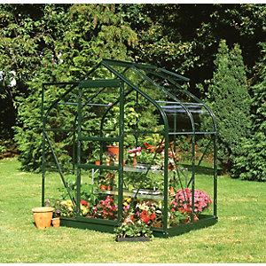 Halls Supreme Curved Greenhouse Aluminium Green 4x6