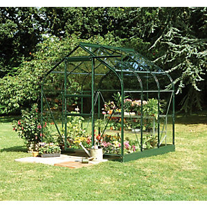 Halls Supreme Curved Greenhouse Aluminium Green with Base 6x6