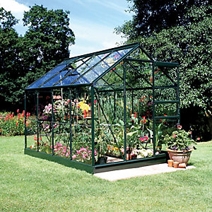 Halls Popular Greenhouse Aluminium Green 8x6