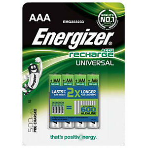 Energizer Precharged Rechargeable Universal Batteries AAA 4 Pack